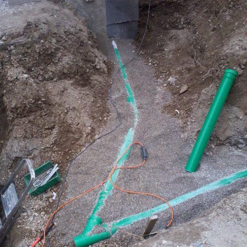 Kanalanschluß Regenentwässerung Abbrucharbeiten für 3 Reihenhäuser