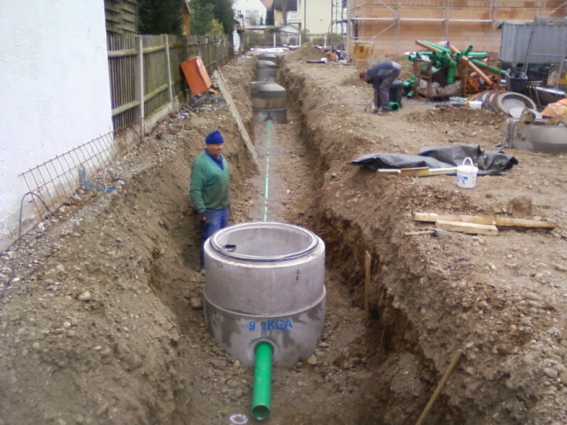 Kanalanschluss Regenentwässerung Erdarbeiten Verbindungsrohre 2