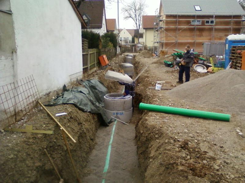 Kanalanschluss Regenentwässerung Erdarbeiten Verbindungsrohre